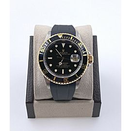 Rolex Submariner 16613 Black Dial 18K Yellow Gold Stainless Box Service Paper