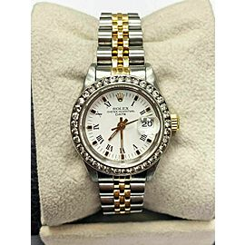 Rolex Ladies Date 69173 White Dial Diamond Bezel 18K Yellow Gold Stainless