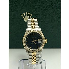 Rolex Ladies 69173 Datejust 18K Yellow Gold Stainless Diamond Bezel Box Papers