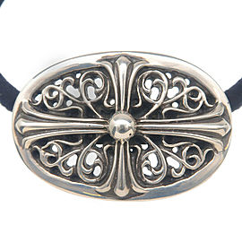 Authentic Chrome Hearts Classic Oval Cross Concho Hair tie Silver 925 Used F/S