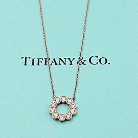 Tiffany & Co Jazz Platinum Diamond 0.90 tcw Circle Pendant Necklace $8000 Value