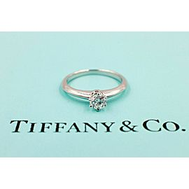 Tiffany & Co Platinum Diamond Engagement Ring Round 0.28 ct D IF $5500 Retail
