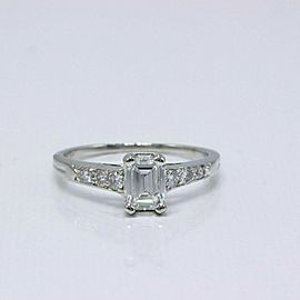 Tiffany & Co Vintage Platinum Diamond Engagement Ring Emerald & Rounds 0.69 tcw
