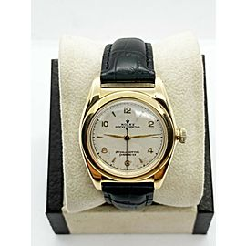 Vintage Rolex Oyster Perpetual 14k Yellow Gold Bubble Back Black Leather Strap