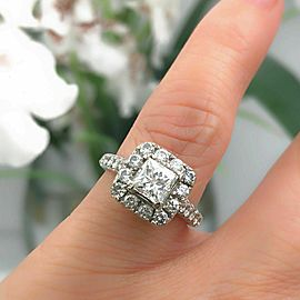 Neil Lane Diamond Engagement Ring Princess 2.00 TCW in 14K White Gold $9K Retail