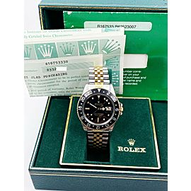 Rolex GMT Master 16753 NIPPLE DIAL 18K Yellow Gold Steel Box Paper COLLECTIBLE