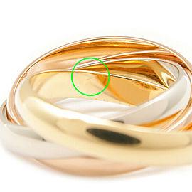 Authentic Cartier Trinity Ring K18 750 YG/WG/PG #53 US6.5 HK14 EU53 Used F/S