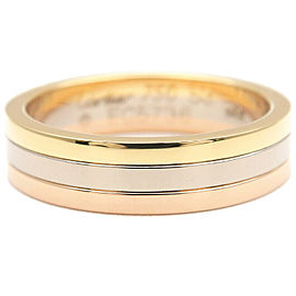 Authentic Cartier Three Color Ring K18 750 YG/WG/PG #53 US6.5 EU53.5 Used F/S