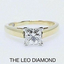 Leo Diamond Engagement Ring Princess Cut 0.97 cts I SI1 14k Yellow Gold