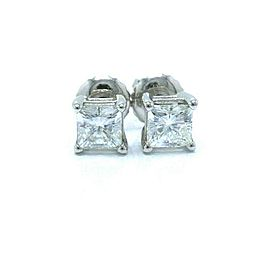 Celebration Princess Diamond Stud Earrings 0.98 tcw 18k White Gold $6,000 Retail