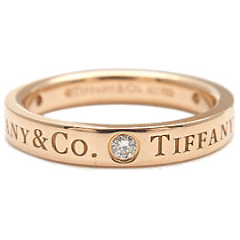 Authentic Tiffany&Co. Flat Band 3P Diamond Ring Rose Gold US4 EU46.5 Used F/S