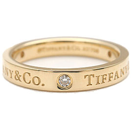 Authentic Tiffany&Co. Flat Band 3P Diamond Ring Yellow Gold US5 EU49 Used F/S