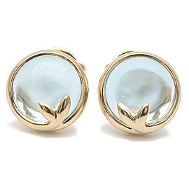 Authentic Tiffany&Co. Olive Leaf Earrings Blue Topaz 750YG Yellow Gold Used F/S