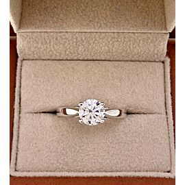 Round Brilliant Cut Diamond 1.00 Carat D SI2 GIA Solitaire Engagement Ring