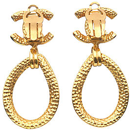 Authentic CHANEL Coco Mark Vintage Swing Earrings Gold 96P Used F/S