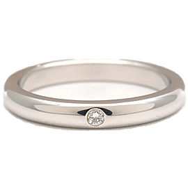 Authentic Tiffany&Co. Stacking Band Ring 1P Diamond Platinum US5.5 EU51 Used F/S