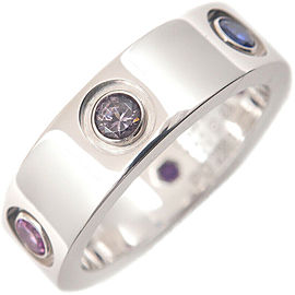 Auth Cartier Love Ring Multi Color Stone White Gold #49 US5 EU49.5-50 Used F/S