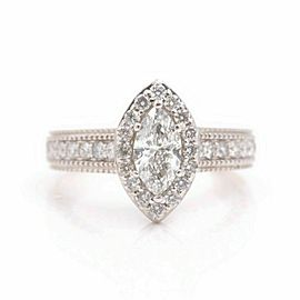 Marquise Diamond Halo Engagement Ring Milgrain Diamond Band 1.00 tcw 14kt WG