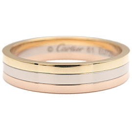 Authentic Cartier Three Color Ring K18 750 YG/WG/PG #61 US10 EU61.5 Used F/S