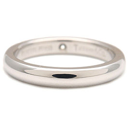 Authentic Tiffany&Co. Stacking Band Ring 1P Diamond Platinum US4.5 EU48 Used F/S