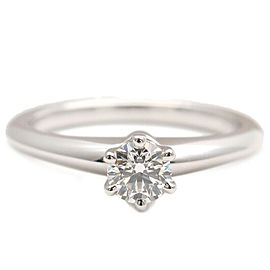 Auth Tiffany&Co. Solitaire Diamond Ring 0.26ct Platinum US5 EU49 Used F/S
