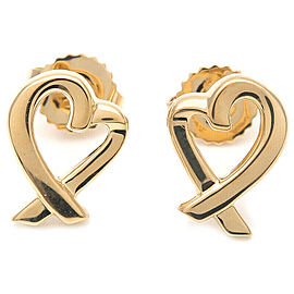 Authentic Tiffany&Co. Loving Heart Earrings K18YG 750YG Yellow Gold Used F/S