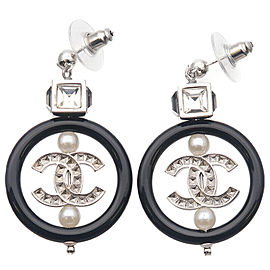 Auth CHANEL Coco Mark Imitation Pearl Rhine Stone Earrings Silver A18A Used F/S