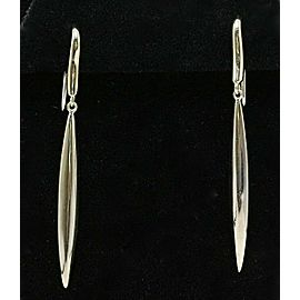 Tiffany & Co 18K White Gold Feather Hook Dangle Earrings