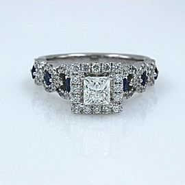 VERA WANG Love Engagement Ring Diamond and Sapphire 1.00 tcw 14k White Gold
