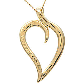 Authentic Tiffany&Co. Leaf Heart Necklace K18YG 750YG Yellow Gold Used F/S