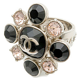 Auth CHANEL Coco Mark Rhinestone Ring Silver Black Pink 08C US6.5-7 Used F/S