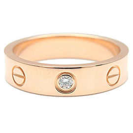 Authentic Cartier Mini Love Ring 1P Diamond K18 Rose Gold #48 US4.5-5 Used F/S