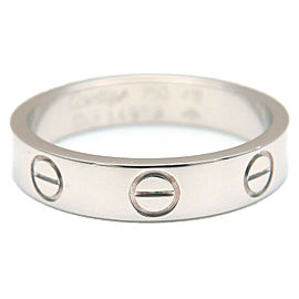 Authentic Cartier Mini Love Ring White Gold #49 US5 HK10.5-11 EU49-49.5 Used F/S