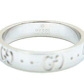 Authentic GUCCI ICON Ring K18 WG 750 White Gold #11 US5.5-6 HK12 EU51 Used F/S