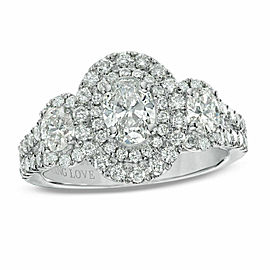 Vera Wang 1 1/2 tcw Three Stone Oval Diamond Halo Engagement Ring 14k White Gold