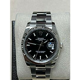Brand New Rolex Date 115234 Black Dial Stainless Steel Box Papers