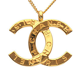 Authentic CHANEL CoCo Mark Necklace Gold B20A Used F/S