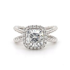 David Yurman Crossover Capri Cushion 2.00 tcw Halo Engagement Ring Platinum GIA