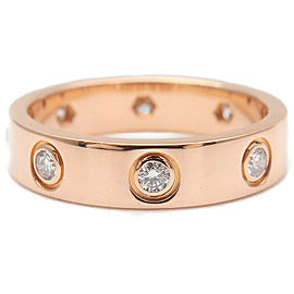 Authentic Cartier Mini Love Ring Full Diamond K18 Rose Gold #47 US4-4.5 Used F/S