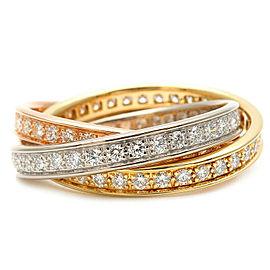 Authentic Cartier Trinity Ring Full Diamond K18 YG/WG/PG #62 US9-9.5 Used F/S