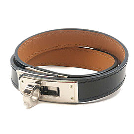 Authentic HERMES Kelly Bracelet Double Tour Leather Bracelet Black Used F/S