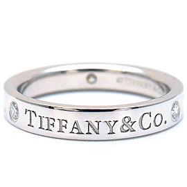 Authentic Tiffany&Co. Flat Band 3P Diamond Ring Platinum US4 HK8 EU46.5 Used F/S