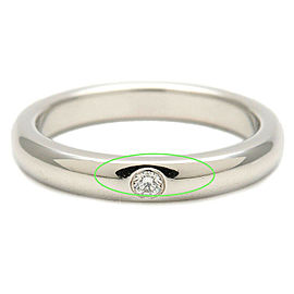 Authentic Tiffany&Co. Stacking Band Ring 1P Diamond Platinum US3-3.5 Used F/S