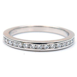 Auth Tiffany&Co. Half Circle Channel-set Diamond Ring Platinum US4.5 Used F/S
