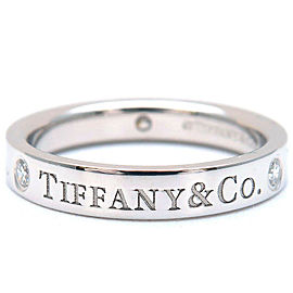 Authentic Tiffany&Co. Flat Band 3P Diamond Ring Platinum US4 HK8 EU46.5 Used F/S