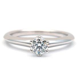 Authentic Tiffany&Co. Solitaire Diamond Ring 0.23ct Platinum US4.5 EU48 Used F/S