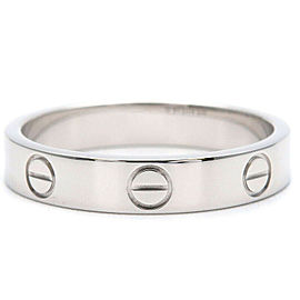 Authentic Cartier Mini Love Ring K18 750 White Gold #55 US7.5 HK16 EU55 Used F/S