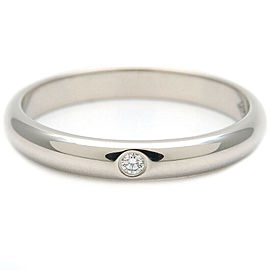 Authentic Cartier Wedding Ring 1P Diamond Platinum #47 US4-4.5 HK9 EU47 Used F/S