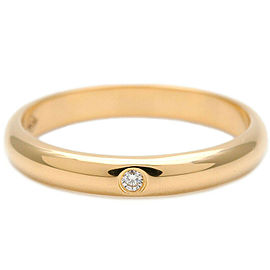 Authentic Cartier Wedding Ring 1P Diamond Yellow Gold #47 US4 EU47 Used F/S