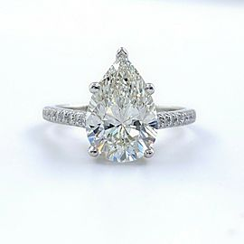 Tiffany & Co NOVO Pear Shape Diamond 2.88 tcw Engagement Ring PLAT Papers Box